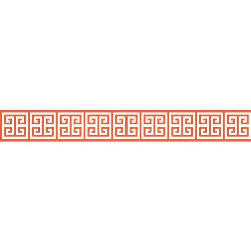 York Wallcoverings BP8211BD Border Portfolio Ii Meander Border Orange/White