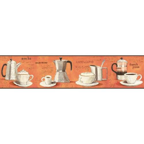 York Wallcoverings BP8299BD Border Portfolio Ii Parisian Coffee Border Orange