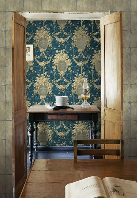 Seabrook HE50001 Heritage Bellamy Floral Cameo Wallpaper Blue Tan