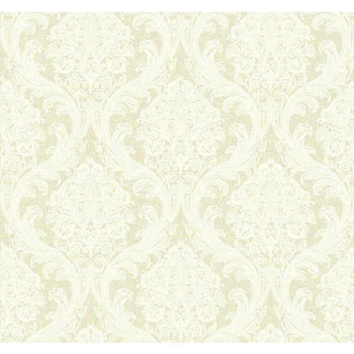 Gentle Manor Architectural Damask Color: Oyster Pearl Metallic/Winter White