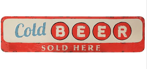Vintage Cold Beer Sold Here,  Metal Wall Sign 36.5""