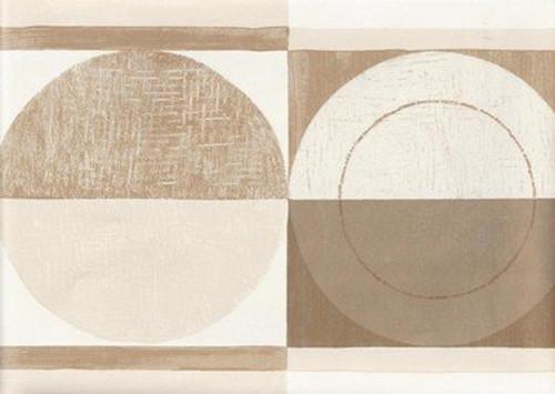 Wallpaper For Less CT78163 Bold Abstract Circles Wallpaper Border, Cream