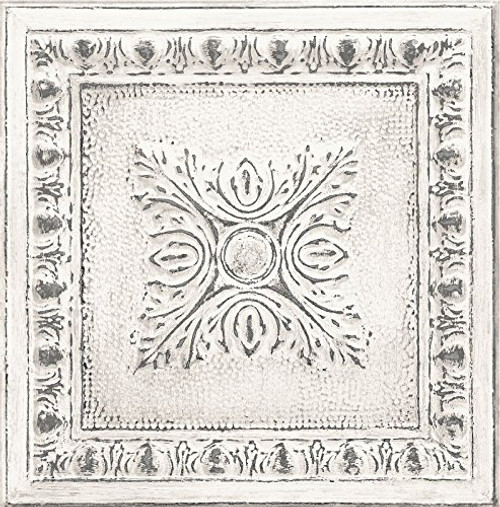 Brewster FD24031 Restored White Ornamental Tin Ceiling Fine Decor Wallpaper