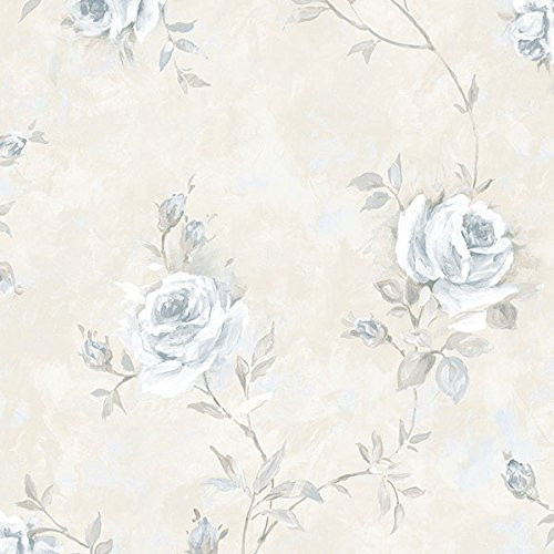 Cavalier Wall Liner RG35737 Painted Rose Trail Wallpaper Blue, Beige, Grey