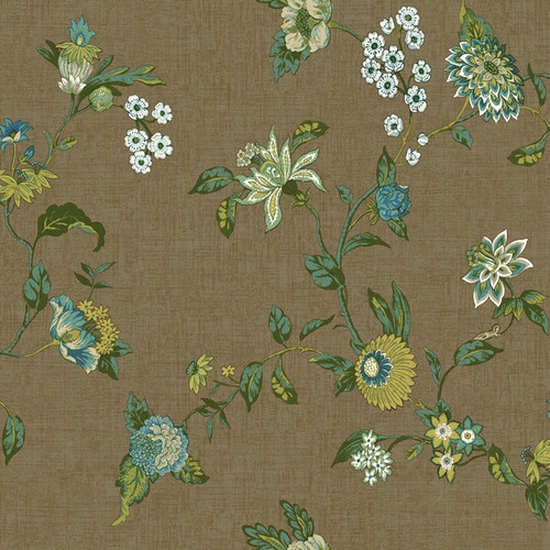 York Wallcoverings GC8713 Global Chic Graceful Garden Trail Wallpaper brown