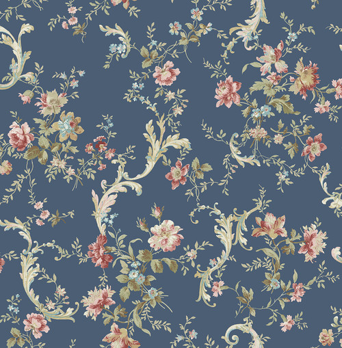 Regal Floral Scroll Wallpaper in Navy FG70502 from Wallquest