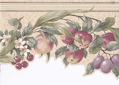 Wallpaper For Less CV103721 Apples Cherries Floral Wallpaper Border, Cream