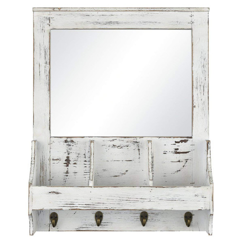 Pomeroy 916786 Highland 18 inch Mirror and Weathered White Wall Organizer