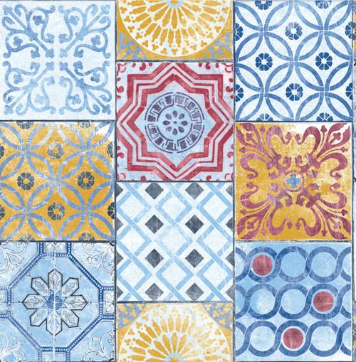 GW2011 Grace & Gardenia Red Blue & Gold Mosaic Tile Peel and Stick Wallpaper