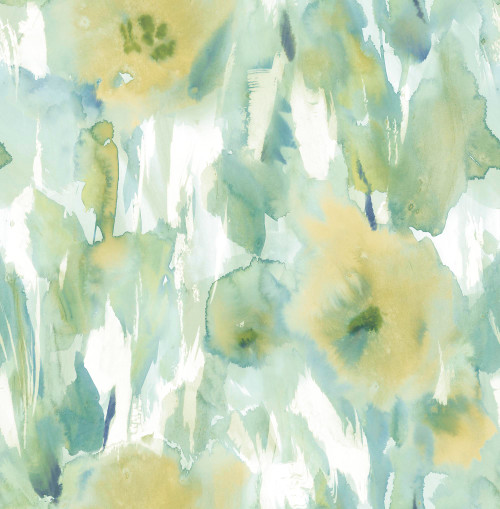 GW2014 Grace & Gardenia Watercolor floral Fresh Blue peel and stick wallpaper