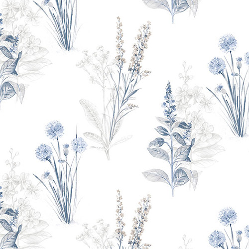 Norwall AF37716 Blue Flourish Wall paper. grey dove navy