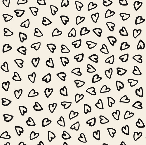 GP1006 Hand Painted Hearts Black on Beige Premium Peel and Stick Wallpaper Panel 6 Ft High x 26 Wide