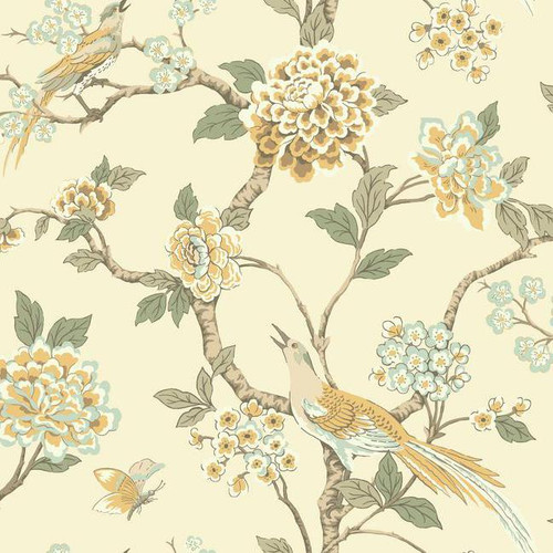 York Wallcoverings AF1904 Ashford Toiles Fanciful Wallpaper Yellow/Blue/Green