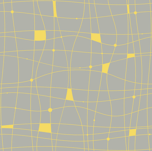 "GP190042 Grace & Gardenia - Yellow Wavy Grid Lines on Gray Premium Peel and Stick Wallpaper Panel 6 Ft High x 26"" Wide"