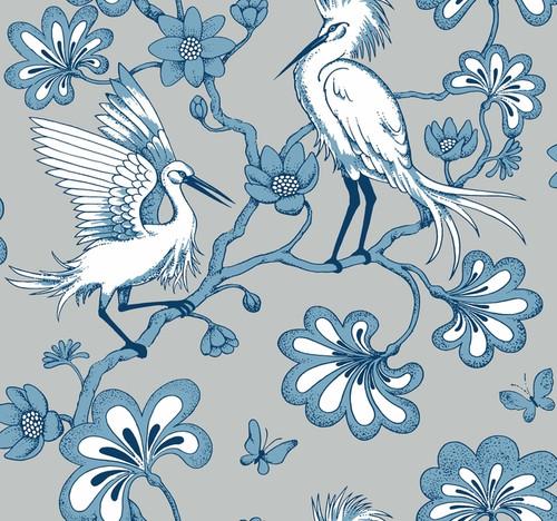 York Wallcoverings FB1450 Florence Broadhurst Egrets Wallpaper Blue