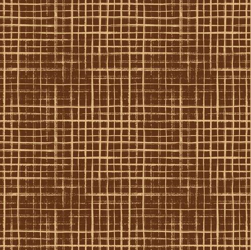 """GP1900121 Tan Hand Painted Grid on Brown Premium Peel and Stick Wallpaper Panel 6 High x 26"""" Wide"""