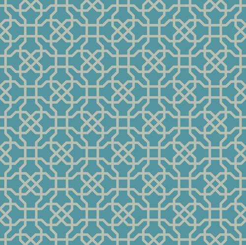 "GP190052 Grace & Gardenia Hexagon Pattern on Blue Premium Peel and Stick Wallpaper Panel 6 Ft High x 26"" Wide"