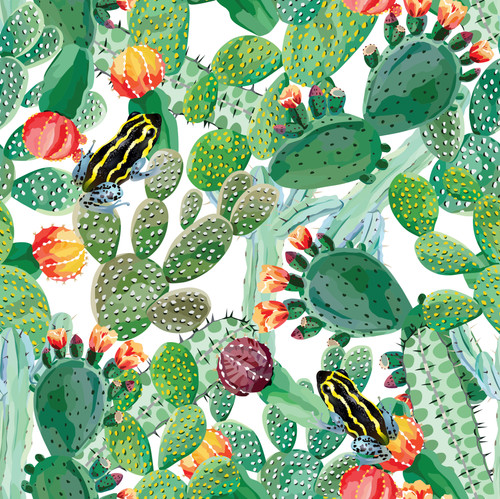 """GP1900161 Grace & Gardenia Cactus and Frog on White Premium Paper Peel and Stick Wallpaper Panel 6 Ft High x 26"""" Wide"""