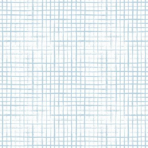 """GP1900122 Grace & Gardenia Light Blue Hand Painted Grid on White Premium Peel and Stick Wallpaper Panel 6' High x 26"""" Wide"""