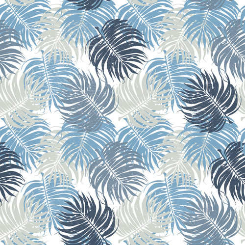 "GP1900141 Blue and Gray Leaves on White Premium Peel and Stick Wallpaper Panel 6 Ft High x 26"" Wide"