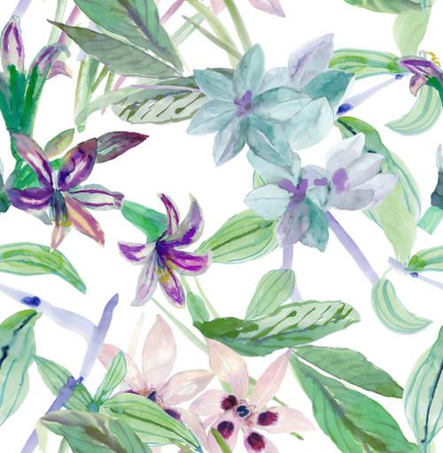 Grace & Gardenia GY2002D Tropical Exotic Flower  Peel & Stick Wallpaper  Blue  Purple Green