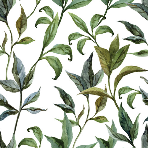 GP1900251 Curling Leaves on White Premium Peel and Stick  6 Ft High x 26 Wide Wallpaper Panel