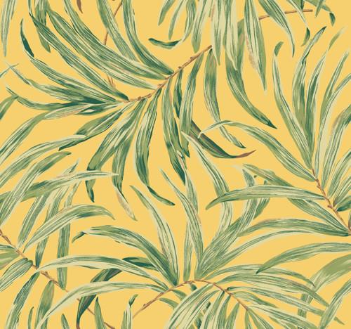 York AT7052 Tropics Bali Leaves Wallpaper bright yellow, pale to dark green, tan, brown