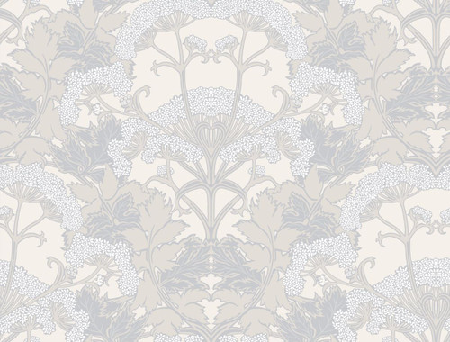 York Wallcoverings NV5556 Yarrow Nouveau Wallpaper Gray/Cream