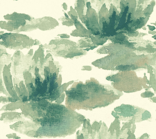 York Wallcoverings NA0526 Water Lily Wallpaper Green