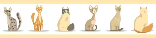 GP1900301 Cartoon Cats Premium Peel and Stick Wallpaper Border