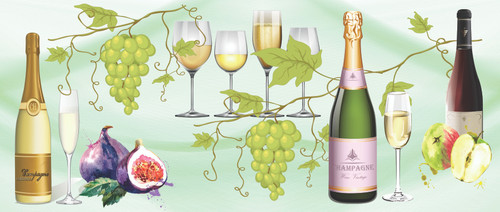 GP1900311 Champagne and Grapes Premium Peel and Stick Wallpaper Border