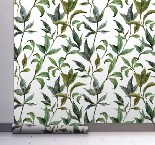 GP1900231 Curling Leaves Peel and Stick Wallpaper Roll 20.5 inch Wide x 18 ft. Long, Green/White