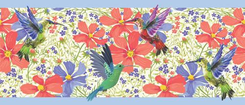 GP1900321 Hummingbird Garden Premium Peel and Stick Wallpaper Border