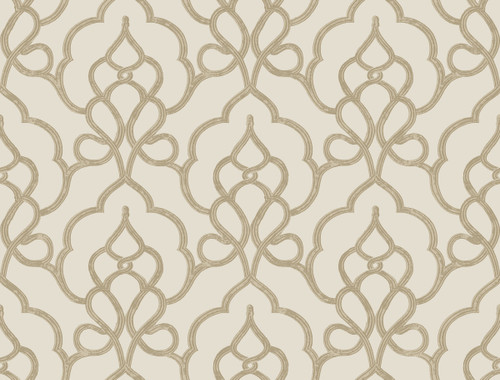 York Wallcoverings FL6523 Filigree Tiara Wallpaper Beige