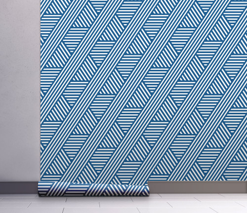 GP1900241 Blue Diagonal Peel and Stick Wallpaper Roll 20.5 inch Wide x 18 ft. Long, Blue/White