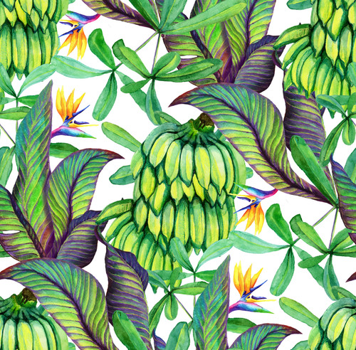"GP1900341 Banana Leaves Premium Peel and Stick Wallpaper Panel 6 Ft High x 26"" Wide"