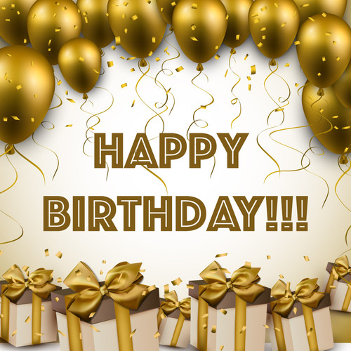 """GPC12061 Happy Birthday Poster Peel and Stick Gold Balloons Wall Decoration for Men and Women Birthday Celebrations 26"""" x 26"""" Inch"""