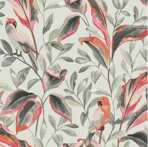 York Wallcoverings TC2652 Tropical Love Birds Wallpaper, Orange/Green/Gray/Black Prepasted Surestrip 27 In wide x 27 ft long 60.8 Sq Ft Designer Quality