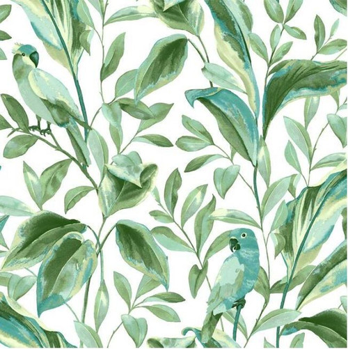 York Wallcoverings TC2654 Tropical Love Birds Wallpaper,Aqua/ Green/Blue/ White Prepasted Surestrip 27 In wide x 27 ft long 60.8 Sq Ft Designer Quality