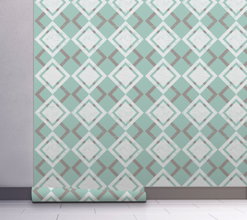 GW10041 White and Gray Diamonds on Green Wallpaper, Roll Size: 20.5 in. W x 18 ft. L