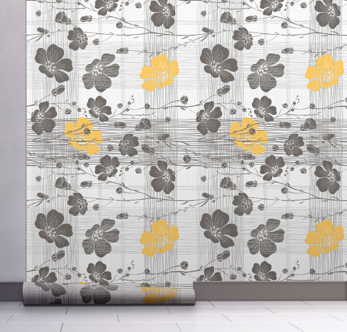 GW15031 Gray and Yellow Flowers with Lines Wallpaper. Roll Size: 20.5 in. W x 18 ft. L.