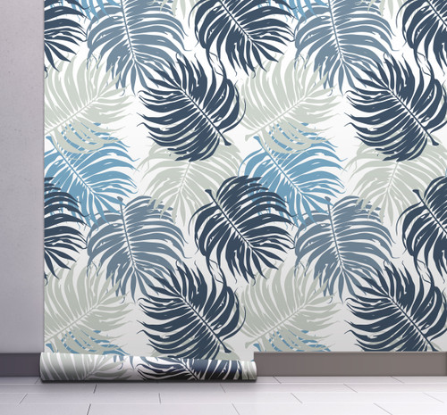 GW12051 Blue and Gray Leaves Wallpaper, Roll Size: 20.5 in. W x 18 ft. L.