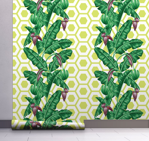 GW12021 Geometric Banana Leaf Wallpaper, Roll Size: 20.5 in. W x 18 ft. L