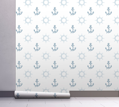 GW12081 Blue Nautical Anchor Wallpaper, Roll Size: 20.5 in. W x 18 ft. L.
