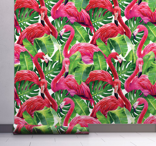"GW12011 Grace & Gardenia Tropical Flamingo Peel & Stick Wallpaper 20.5"" x 18' Green Pink Removable"