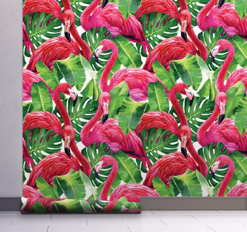 GW12011 Grace & Gardenia Tropical Flamingo Peel and Stick Wallpaper Roll 20.5 inch Wide x 18 ft. Long, Pink/Green
