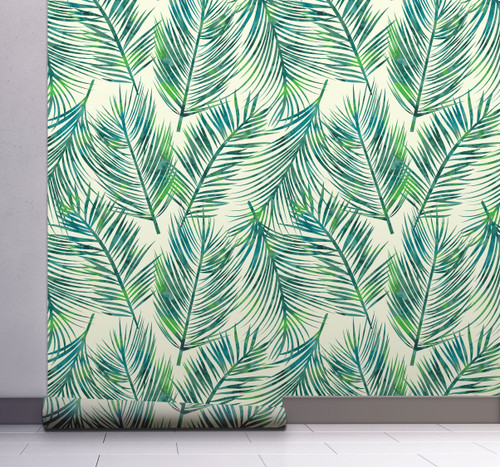 GW128051 Blue and Green Palms Wallpaper, Roll Size: 20.5 in. W x 18 ft. L