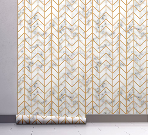 GW108031 Herringbone on Marble Peel and Stick Wallpaper Roll 20.5 inch Wide x 18 ft. Long, Gold/White/Gray