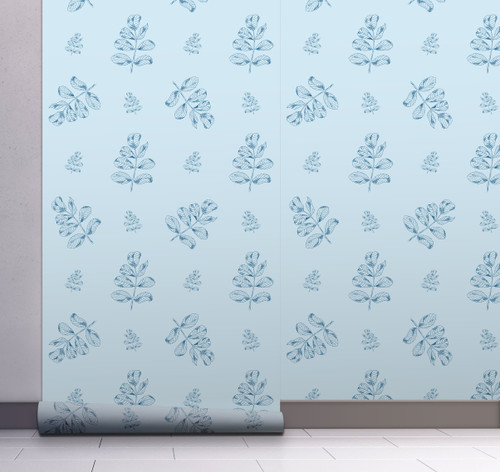 GW158041 Blue Floral on Light Blue Wallpaper, Roll Size: 20.5 in. W x 18 ft. L