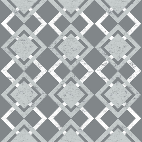 GN0013 Faded Diamonds Fine Wallpaper Roll size 26 inch Wide x 27 ft. Long, Gray, White